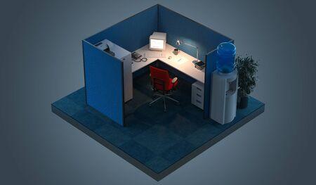 Modern Office design interior room with furniture in cutaway. Office cutaway. 3d rendering. Night time Zdjęcie Seryjne