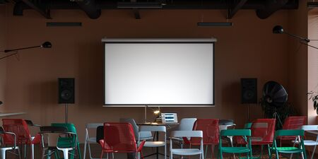 Projector screen canvas in modern cozy cafe. 3d rendering. Front view. Day time Stock Photo