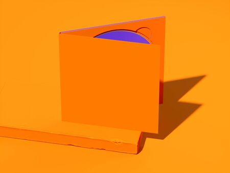 Opened compact disc blank box case for branding design. CD on orange showcase. 3d rendering Banque d'images - 134446495