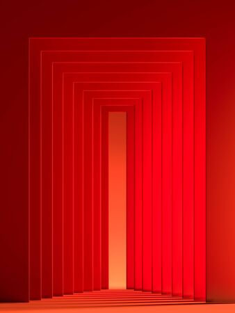 Modern Showcase With Empty Space Pedestal on Abstract Red Geometric Background. 3d rendering.