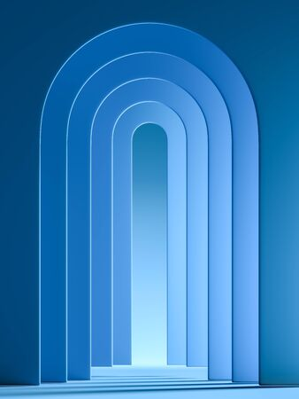 Modern Showcase With Empty Space Pedestal on Abstract Blue Geometric Background. 3d rendering.