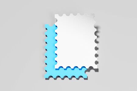 Retro Blank Postage Stamps on Gray Background. Minimalism Concept. 3D Rendering. Copy Space. Empty Space. 写真素材