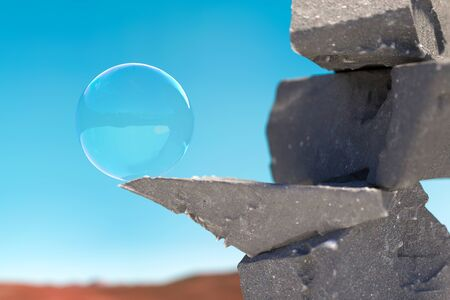 Stone Showcase With Soap Bubble on Pedestal With Light Blue Sky on Background. 3d rendering. Concept Of Natural Products