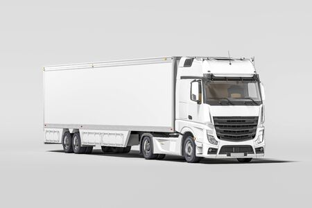 Front View Of Powerful White Semi Truck With Empty Space On Refrigerator For Long Haul Delivery Isolated on White Background. 3d rendering