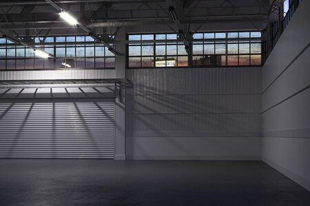 La nuit à l'intérieur du hangar vide blanc ou à l'entrepôt vide avec porte à volet roulant et sol en béton. rendu 3D