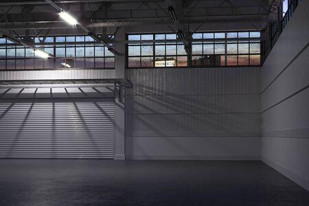 Noche en el interior del hangar vacío blanco o almacén vacío con puerta de persiana enrollable y piso de concreto. Representación 3d