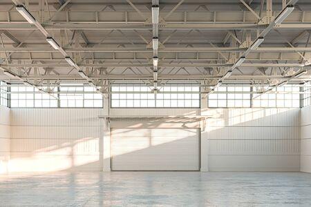 Empty Hangar, Empty Factory Interior or Empty Warehouse With Roller Shutter Door and Concrete Floor. 3d rendering Stock Photo