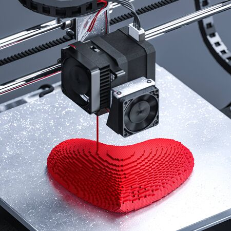 3D Printer Printing Heart. Perfect Gift For Saint Valentine Day. Futuristic Technologies And Relationships In Usual Life. Three-dimensional Heart As Symbol Of Love. 3d rendering. Standard-Bild