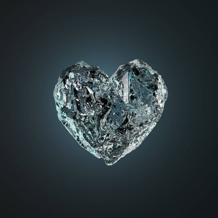 Heart Made Of Ice Isolated on Black Background. 3d Rendering.