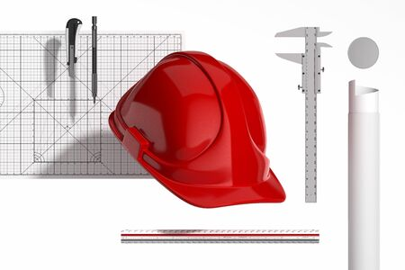 Red Realistic Construction Helmet, Calliper, Ruler, Drawing tube, Pencil, Cutter Knife And Cutting Mat On White Background. Minimalism Concept. 3d Rendering.
