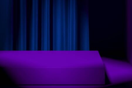 Slightly Illuminated Modern Showcase with Empty Space on Pedestal With Violet Curtains on Background. 3d rendering. Minimalism. Copy space.
