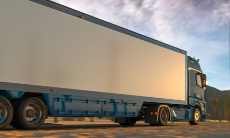 Back View Of White Powerful Semi Truck With Empty Space On Refrigerator For Long Haul Delivery Driving Through Desert. 3d rendering