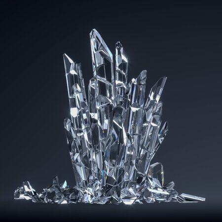 Cristaux transparents sur fond sombre, vitrine en forme de trône, rendu 3D.
