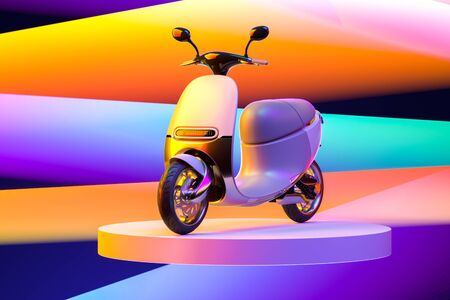 White Electric Scooter Or Moped On Multicolored Background And Pink Showcase. Eco Alternative Transport. 3d rendering. Minimalism. Scooter Illuminated By Different Colors. Stock Photo