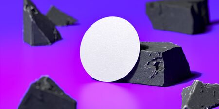 White Blank Beer coaster Or Business Card Near Broken Concrete on Violet Background , 3d rendering. Empty Space. Copy Space.