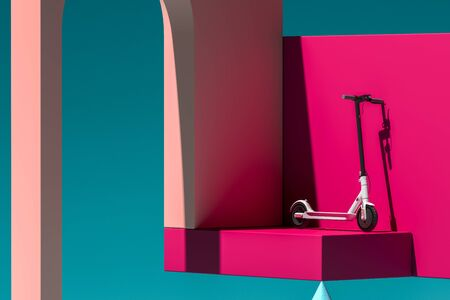 White Electric Kick Scooter On Pink Abstract Background And Showcase Near Geometric Figures. Eco Transport. 3d rendering