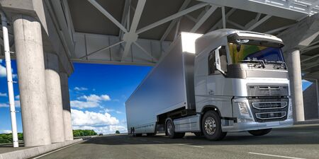 Powerful Semi Truck With Empty Space On White Refrigerator For Long Haul Delivery Driving Along the Route. 3d rendering