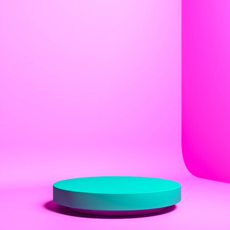 Blank Round Aquamarine Color Showcase with Empty Space on Acid Bright Pink Background. 3d rendering