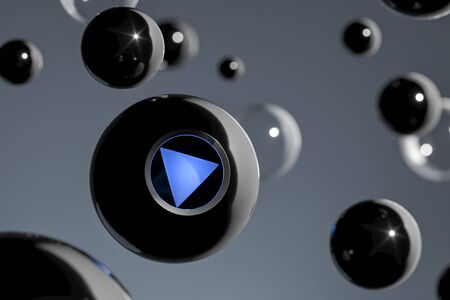 Magic Ball Fortune Teller With Blue Play Button, 3d rendering. Banque d'images