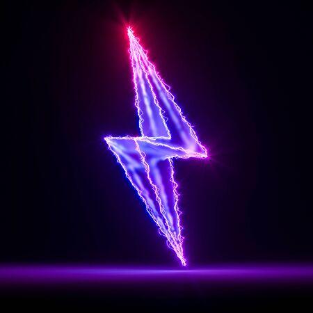 Violet Neon Electric Lightning on Dark Background. 3d Rendering. Reklamní fotografie