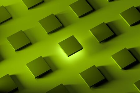 Blank and Light Green Showcases with Empty Space on Acid Bright Green Background. 3d rendering