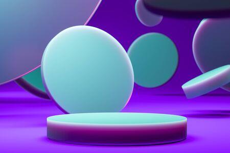 Illuminated by Neon Light Round Showcase Near Blue Plastic Matte Circles on Violet Background. 3d Rendering Reklamní fotografie