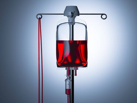 Blood Transfusion Bag on Illuminated Background. Copy Space. Empty Space. Drop Counter With Red Liquid Content. 3d Rendering Reklamní fotografie