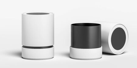 Blank White And Black Cylindrical Boxes on White Background. Packaging Template. Mock up. Copy Space. Empty Space. Minimalism Concept. 3d rendering