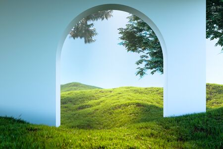 Arch Or Door To heaven Meadow. Beautiful Landscape, Happy Afterlife. 3d rendering
