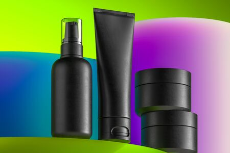 Cosmetic Bottle Set. Blank Templates of Plastic Containers: Dispenser, Cream Jar, Tube. 3d rendering