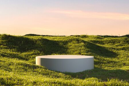 Blank Round White Showcase on Green Grass at Heaven Meadow. Copy Space. Empty Space. 3d rendering. Reklamní fotografie