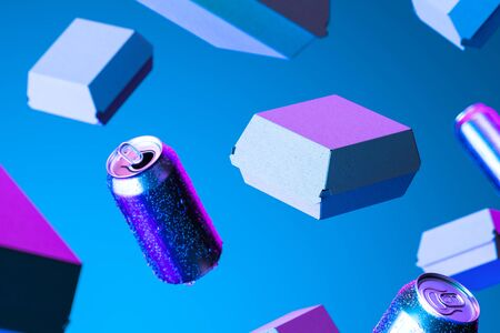 Blank Box From Recyclable Craft Paper Or Cardboard Near Aluminium Cans With Cold Water Droplets Illuminated by Neon Light. Packaging Template. Mock up. Delivery. Copy space. Empty Space. 3d rendering