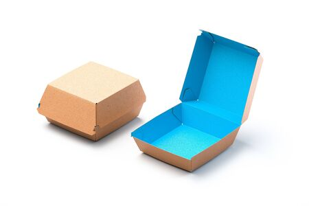 Blank Box Blue Inside and Brown Outside Made From Recyclable Craft Paper Or Cardboard on White Background. Packaging Template. Mock up. Delivery. Copy space. Empty Space. 3d rendering