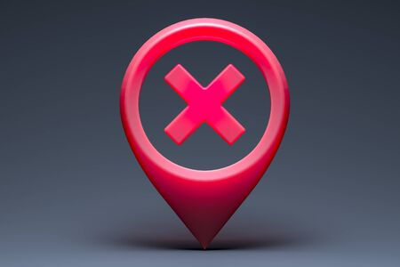 Red Glossy Map Geo Tag Pin With Prohibition Sign on Dark Background. Stay Home Warning Sign. Quarantine. Social Distancing. Self Isolation. Lockdown. 3d rendering.