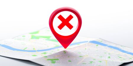 Red Glossy Map Geo Tag Pin With Prohibition Sign on Map. Stay Home Warning Sign. Quarantine. Social Distancing. Self Isolation. Lockdown. Restriction To Go In Public Places. 3d rendering.