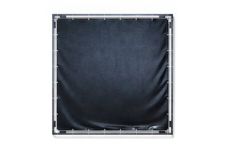 Blank Black Outdoor   Vinyl Textile Banner at Bright Background, mock up. Copy Space. Empty Space. 3d rendering.