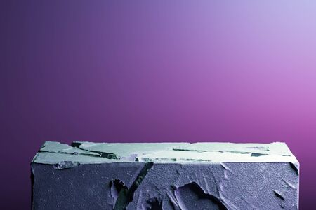 Realistic Modern Showcase Made From Stone or Concrete On Neon Pink and Violet Background. Copy Space. Empty Space. 3d rendering.