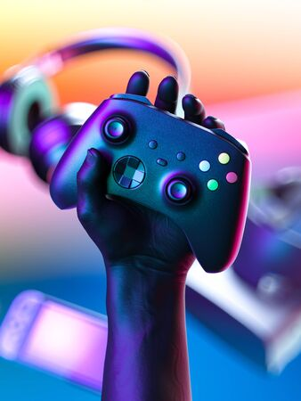 Hand Holding Wireless Joystick With Gaming Gamepad Controller, VR Goggles, Headphones, Video Game Console On Background. 3d rendering Reklamní fotografie