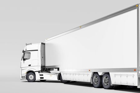 Close up Of White Semi Truck With Empty Space On Refrigerator For Long Haul Delivery on White Background. 3d rendering