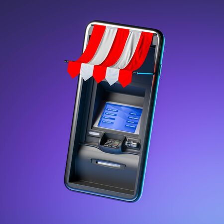 Realistic Black ATM Machine in Mobile Phone on Violet Background. Online Shopping and Paying. Modern Service For Comfortable Ordering. 3d rendering.