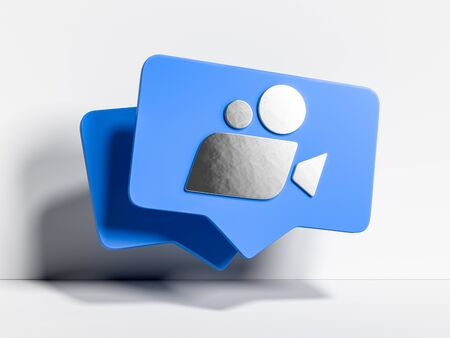 Blue Movie Icon, Cinema Projector on White Background. Online App For Watching TV Series And Movies. 3d Rendering