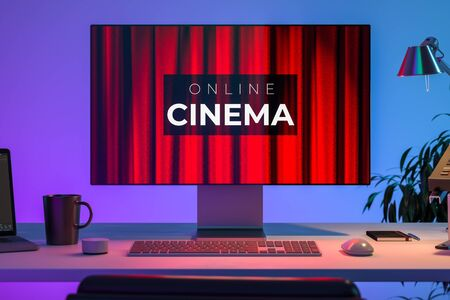 Modern PC With App For Online Movies Watching. The Cinema Inscription With Theatre Red Velvet Curtains Background on Monitor. 3d Rendering