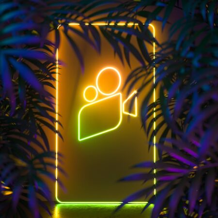 Movie Icon, Cinema Projector Made of Yellow Neon Lamps Near Tropic Plants. 3d Rendering