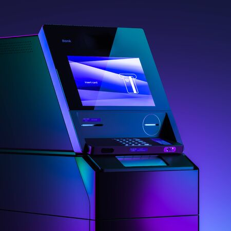 Close up Of Realistic Black ATM Machine With Insert Card Requirement on Neon Gradient Multicolored Background. Payment concept. 3d rendering