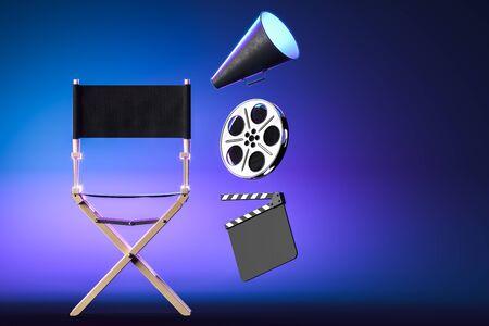 Loudspeaker, Director Chair Film Reel And Movie Clapper on Blue Neon Background. Online Movie Concept. Cinema App. 3d Rendering