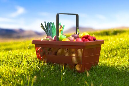 Basket Full Of Fresh Fruits And Vegetables on Green Meadow Lit With Sunlight. 3d Rendering. Reklamní fotografie
