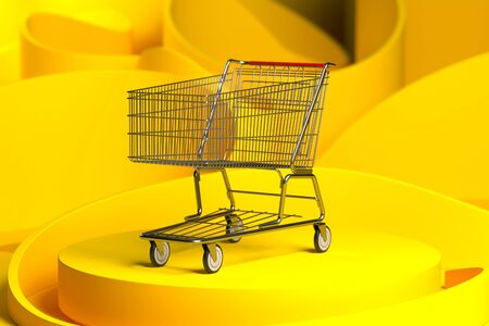 Store Cart on Yellow Showcase And Yellow Abstract Background. 3d Rendering.
