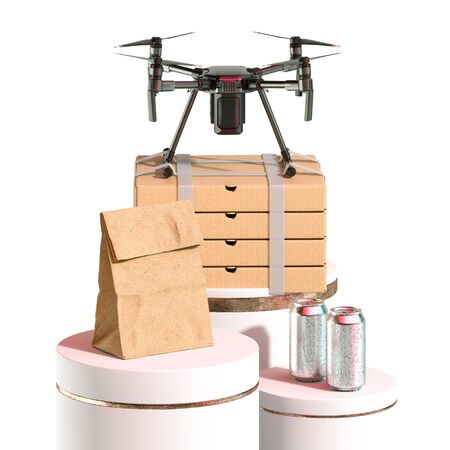 Drone Quadcopter With Batch of Pizza Boxes, Craft Paper Bag and Aluminium Cans On Showcases. Contactless Delivery. 3d rendering Reklamní fotografie
