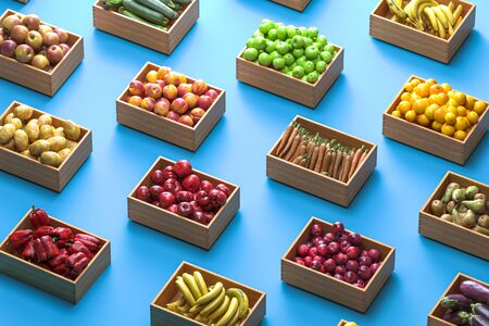 Variety Of Boxes Full Of Fruits And Vegetables on Blue Background. Concept Of Fresh And Healthy Eating. 3d Rendering. Reklamní fotografie