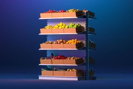 Store Shelves Full Of Fruits And Vegetables on Blue Background. Eco Natural And Organic Food. 3d Rendering. Reklamní fotografie - 147110029